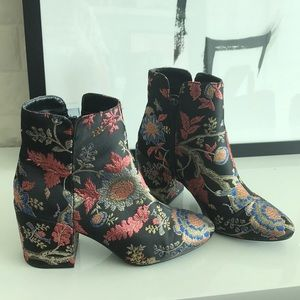 Metallic floral boots